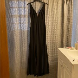 Black evening gown/ wedding guest gown